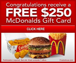 Free McDonald's Gift Card – New Mozzarella Sticks